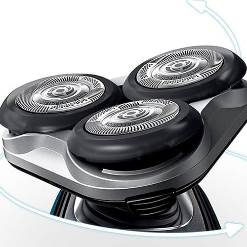 Particolare testine rotanti rasoio elettrico Philips Aquatouch S5420